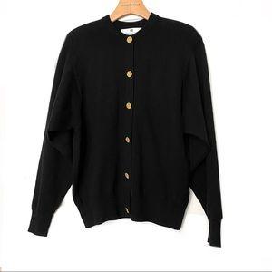 Ballantyne Black Merino Wool Cardigan Gold Buttons